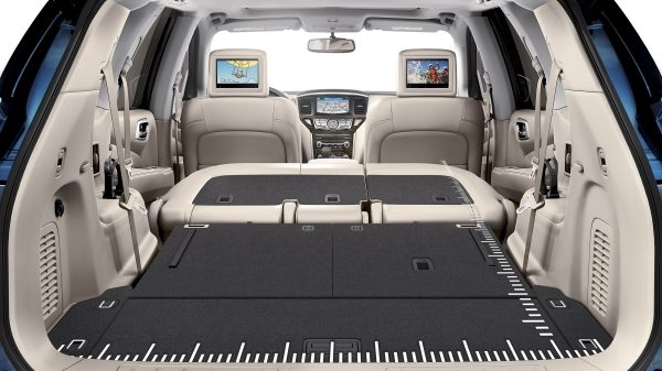 Nissan Pathfinder with second and third rows folded flat for cargo