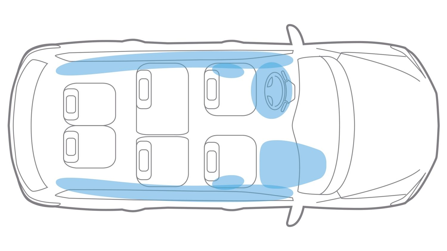 Nissan Pathfinder illustration of air bag placement