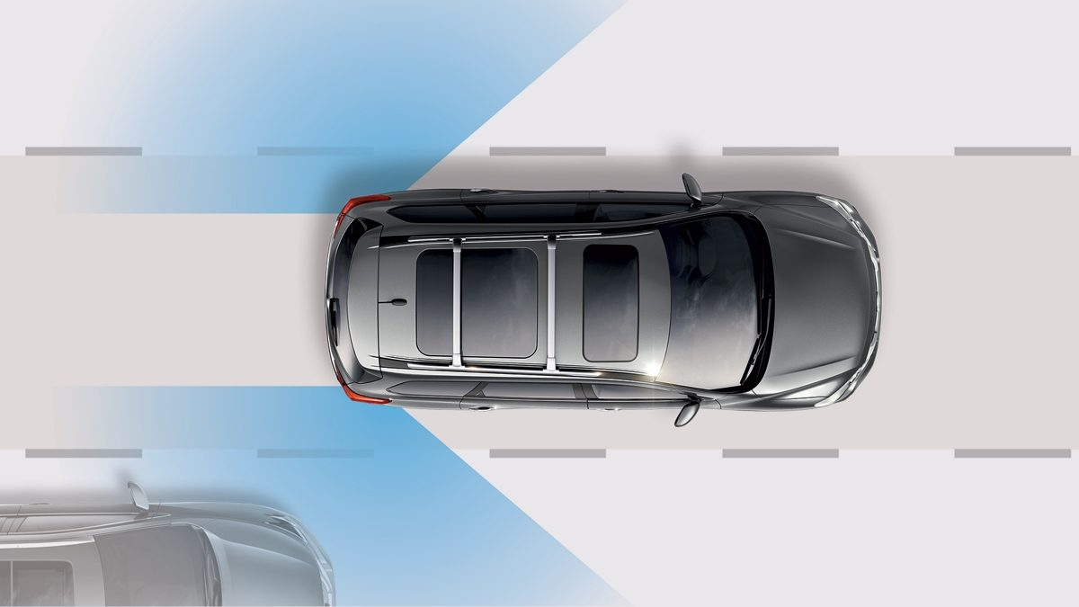 Nissan Pathfinder Blind spot warning illustration
