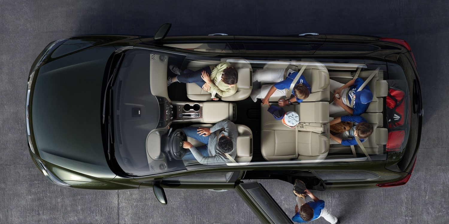 Nissan Pathfinder interior showing all the seats up