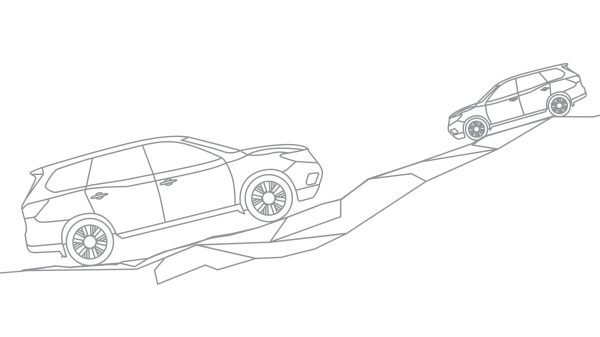 Nissan Pathfinder illustration of vehicle going up and down a hill