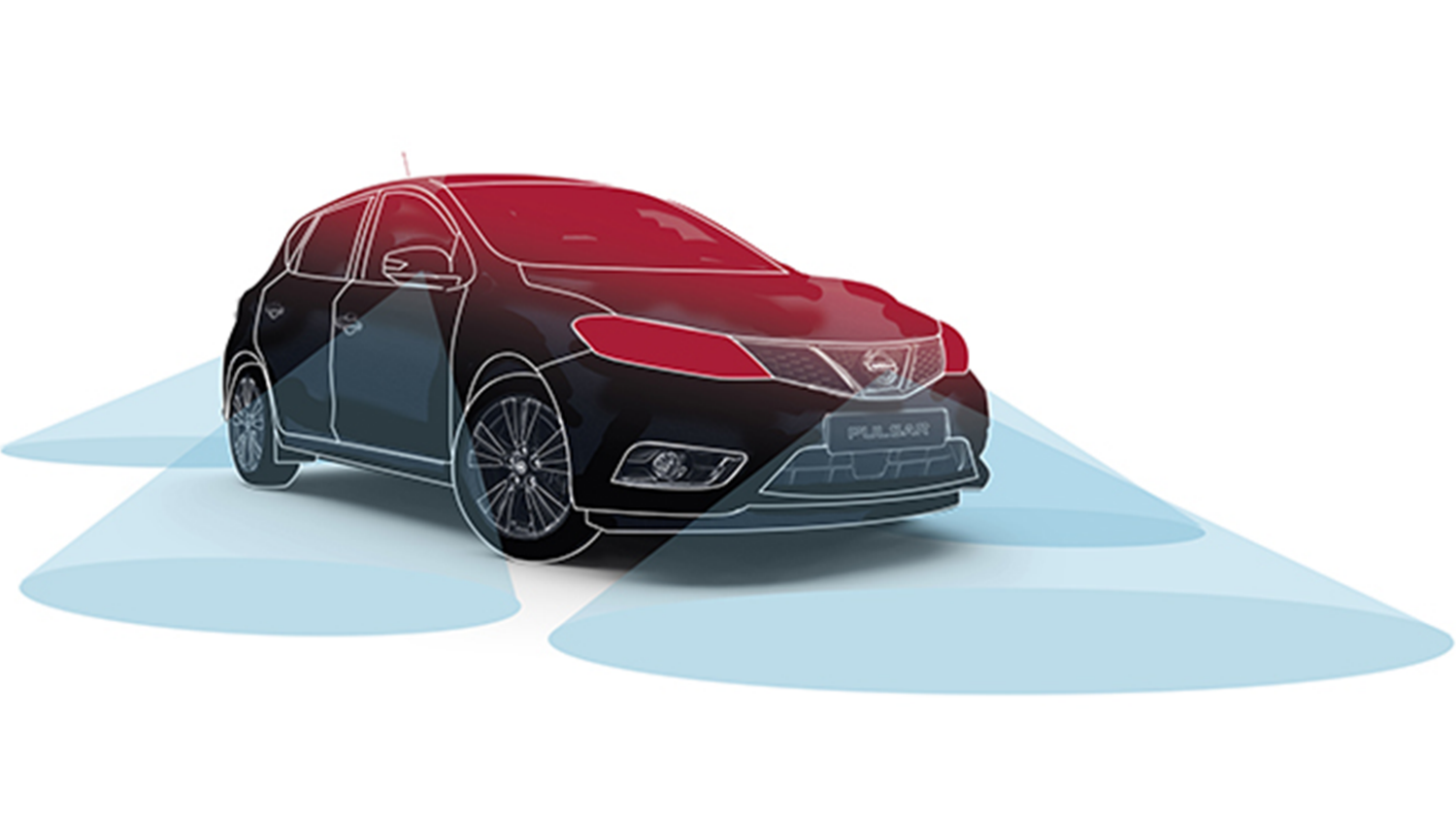Nissan PULSAR – Illustration med fire kamerasensorer