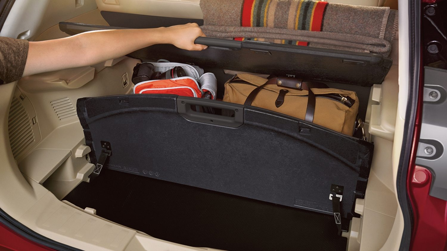 Nissan Rogue Interior Divide-N-Hide Cargo System showing shelf configuration