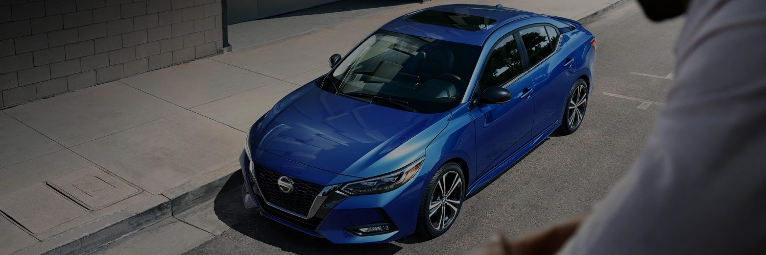 2020 Nissan Sentra in Electric Blue Metallic parked on a street