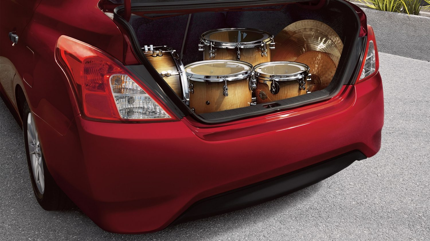 Nissan Versa Trunk with drum set inside