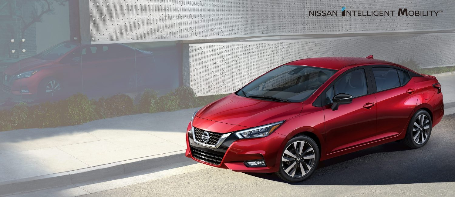 2020 Nissan Versa parked in city