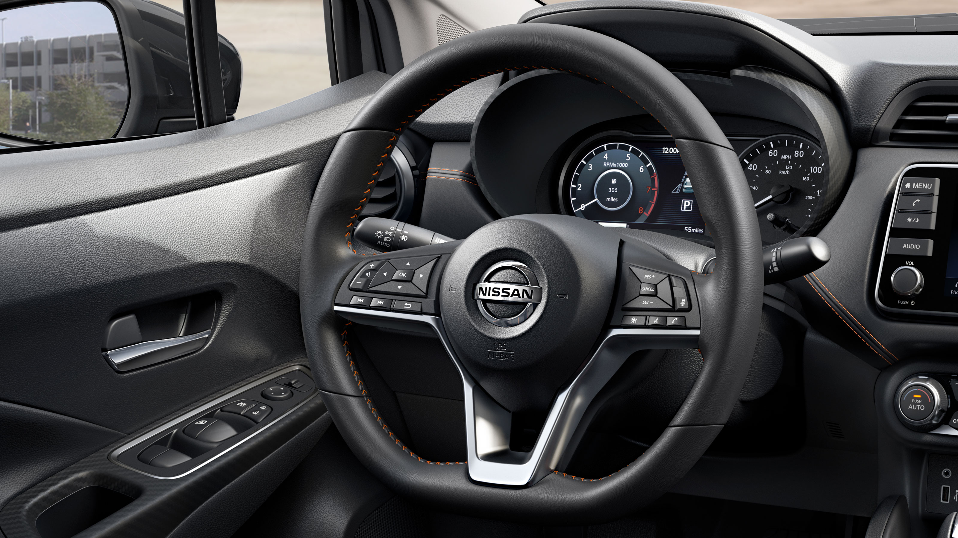 2020 Nissan Versa leather wrapped steering wheel