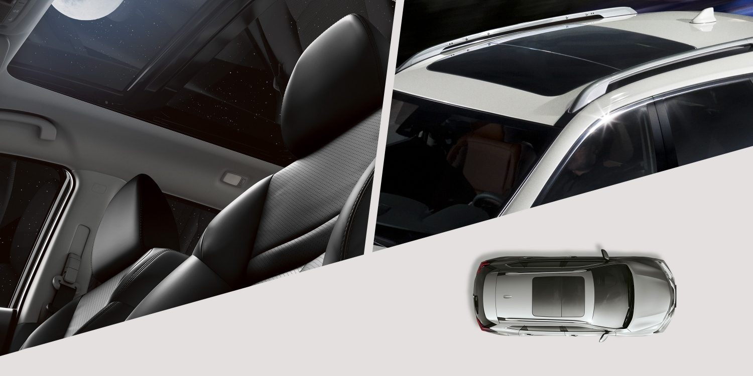 Nissan X-Trail Panoramic Moonroof collage of interior and exterior views
