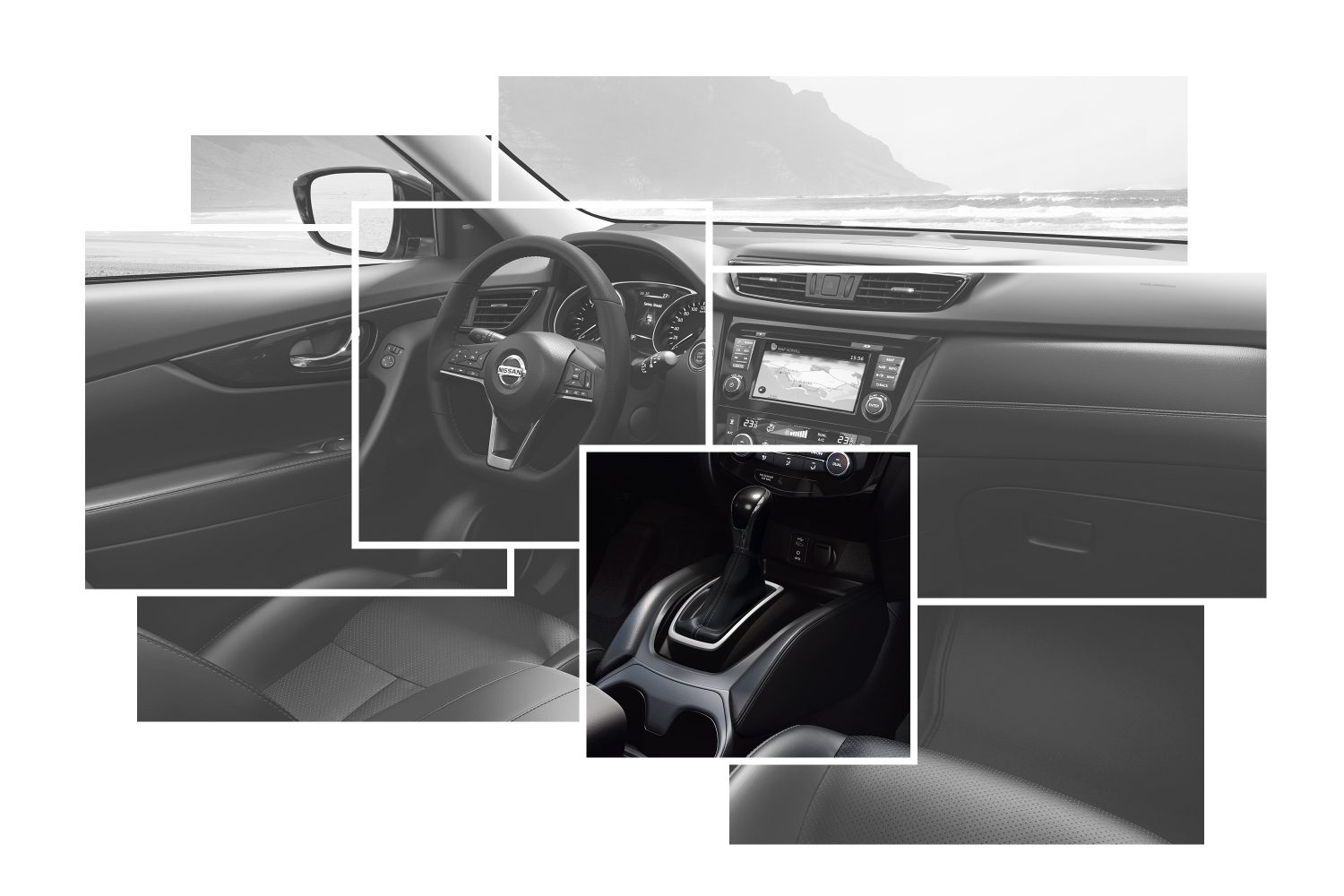Nissan X-Trail Interior Design details carousel focus on leather shift boot