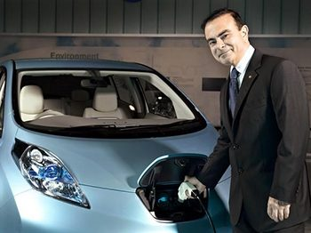 Skeptics doubted Carlos Ghosn's decision to  develop an electric car, but Nissan's LEAF has  proved a success.