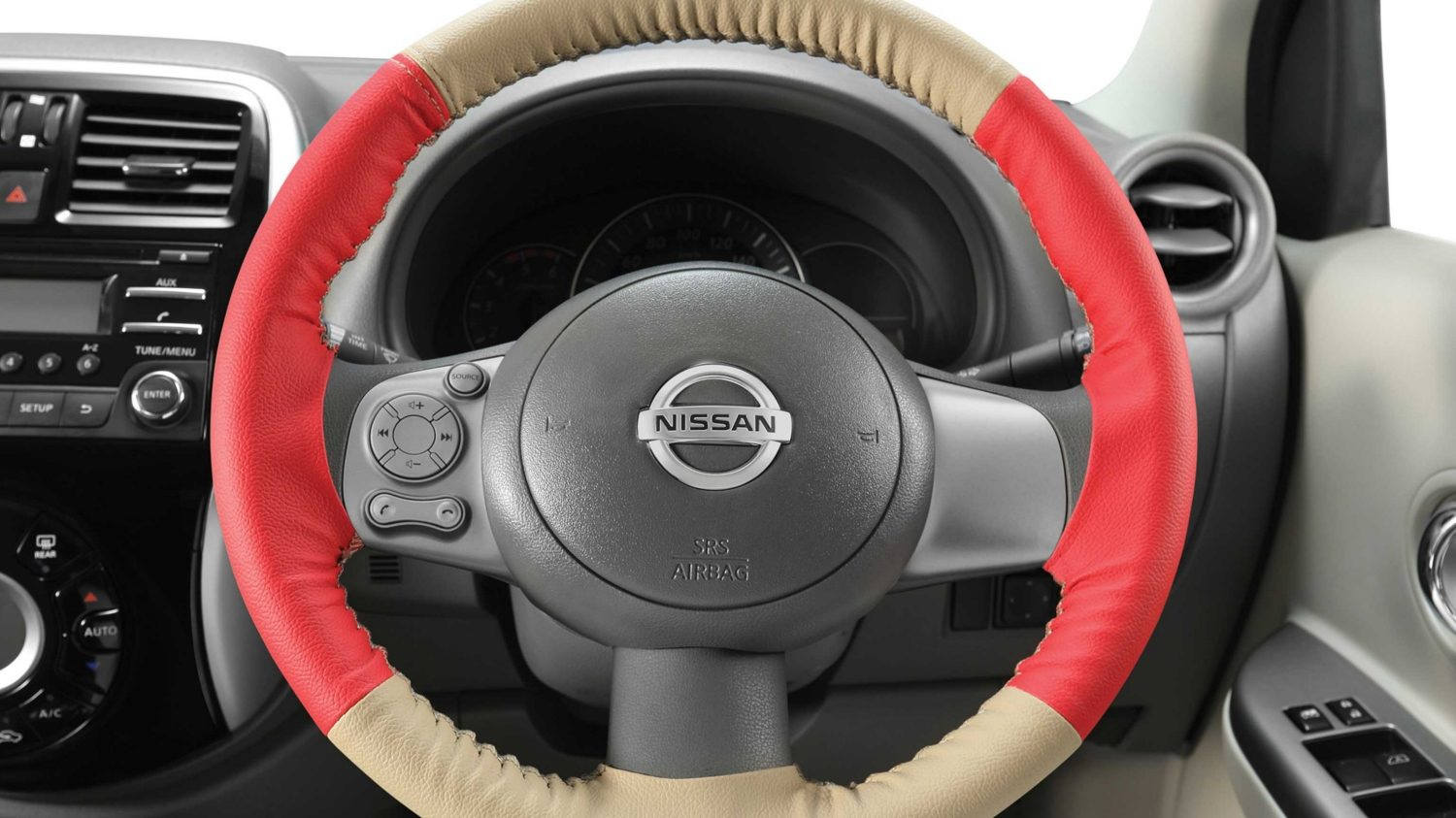 Steering Wheel Cover - Art Leather (Beige + Red)