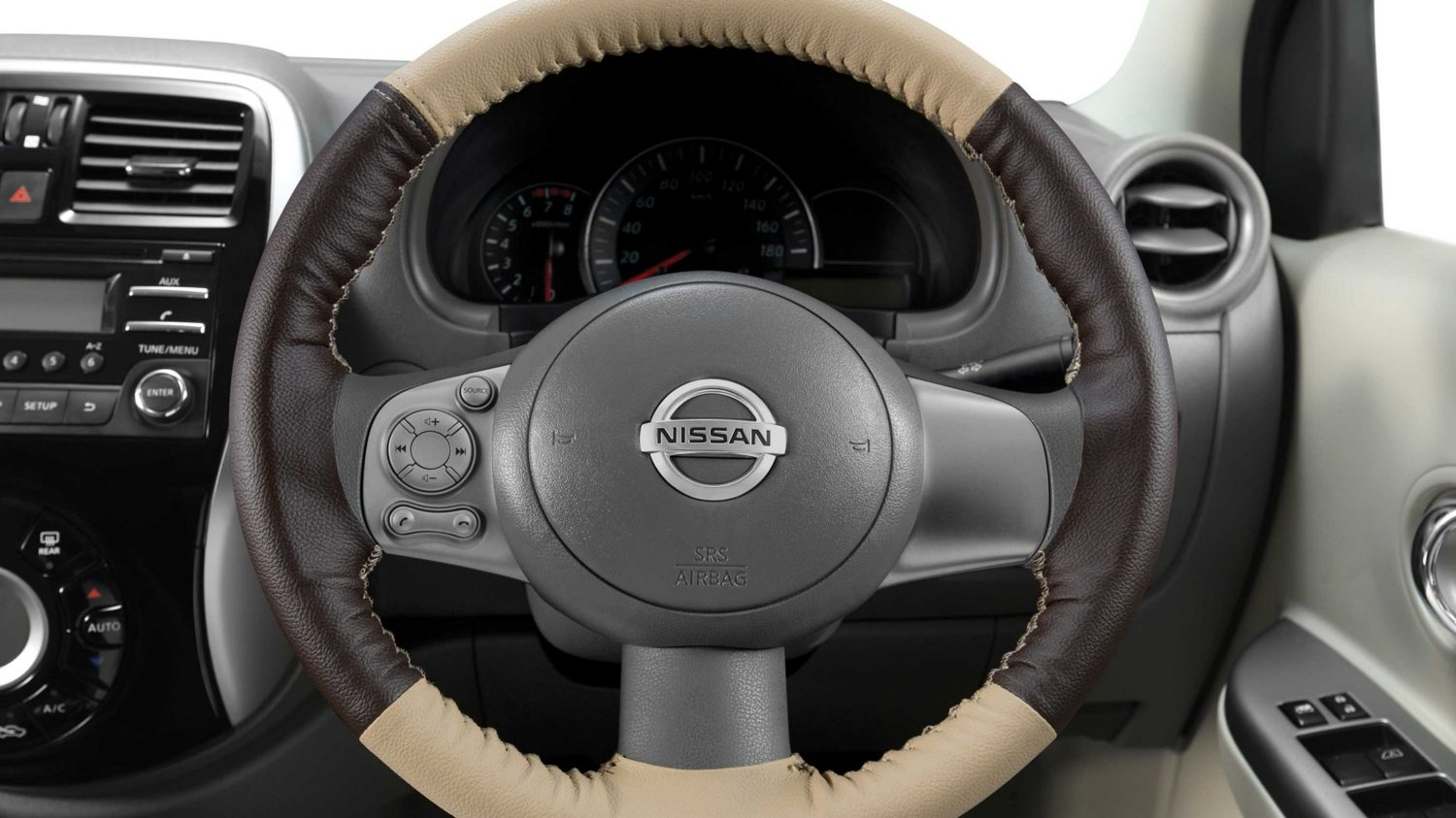 Steering Wheel Cover - Art Leather (Beige + Brown)