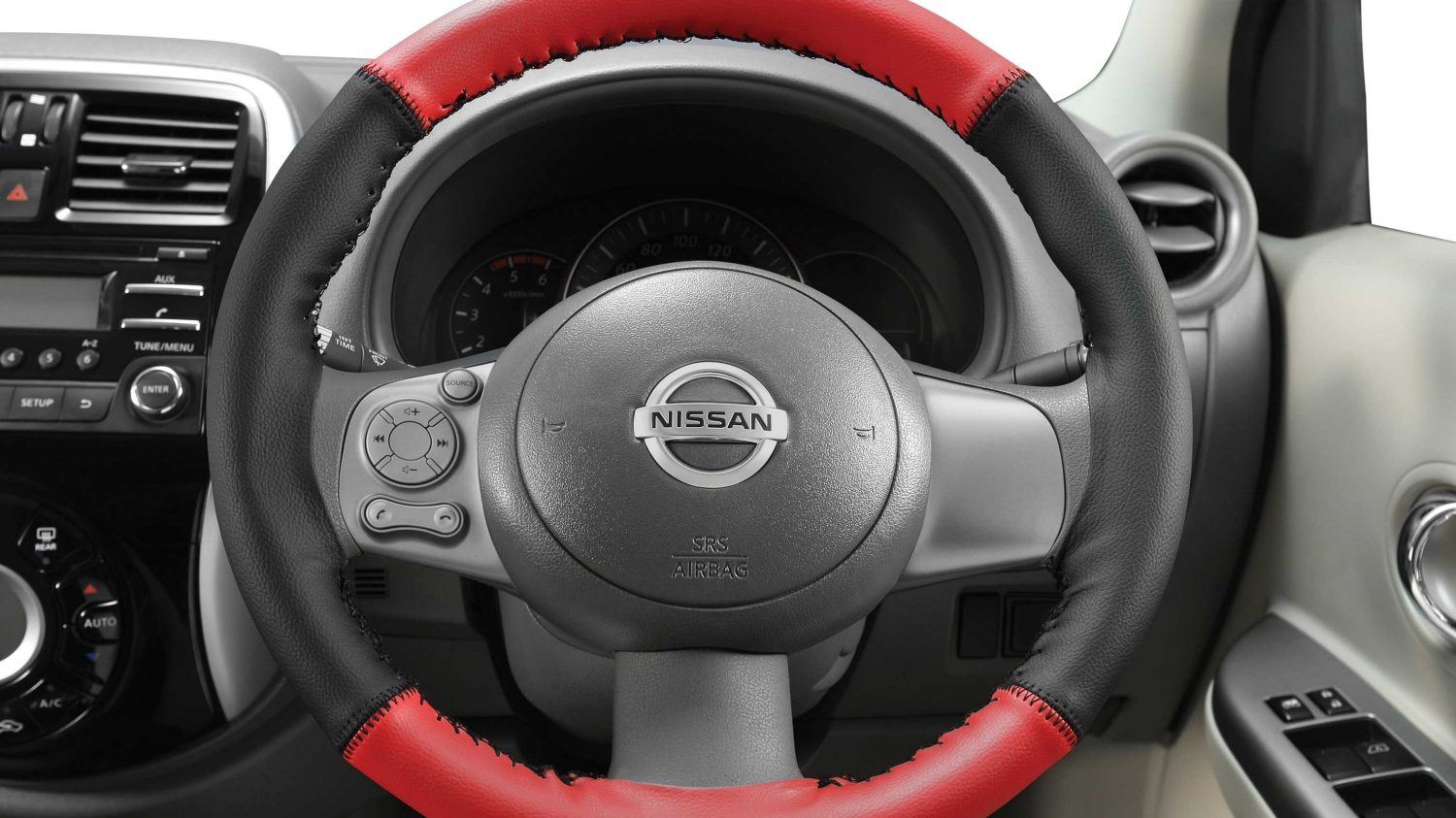 Steering Wheel Cover - Art Leather (Black + Red)