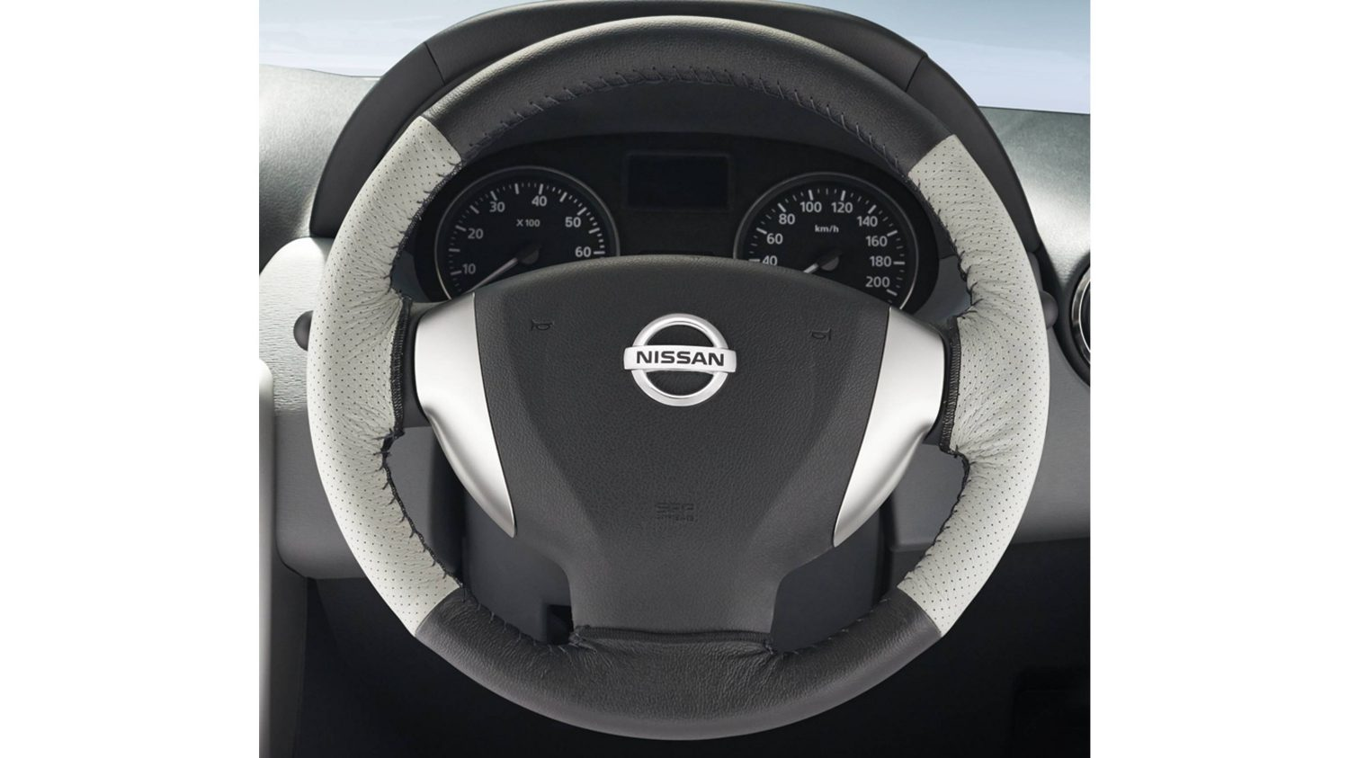 Steering Wheel Cover Leather - Beige