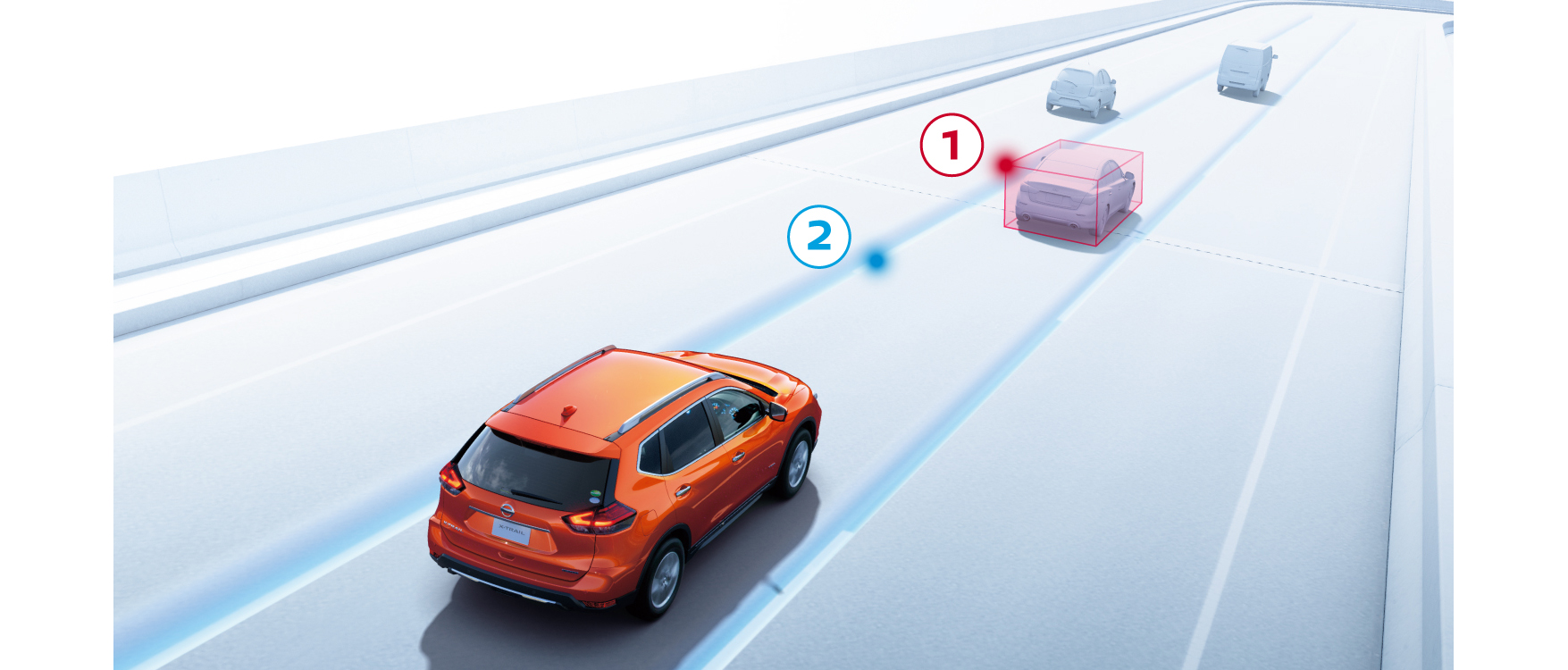 高速道路 同一車線自動運転技術「プロパイロット」。