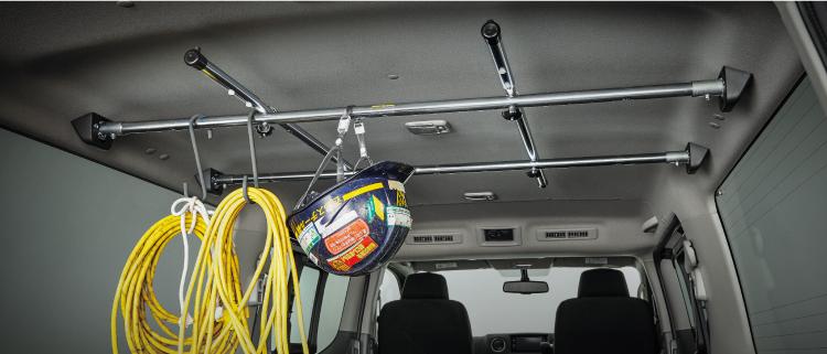 ルーフインナーバーを使えば、天井付近までデッドスペースなく有効活用が可能です。