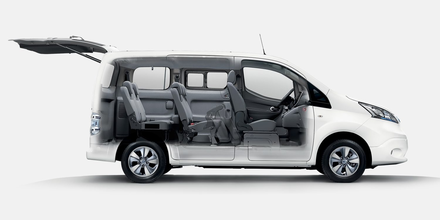 nissan e nv200 combi 7 seater electric car people carrier nissan. Black Bedroom Furniture Sets. Home Design Ideas
