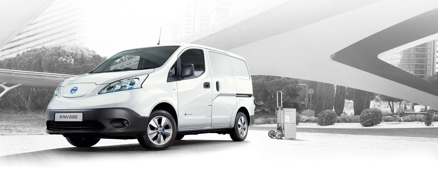 New Nissan e-NV200 VAN parked in the city