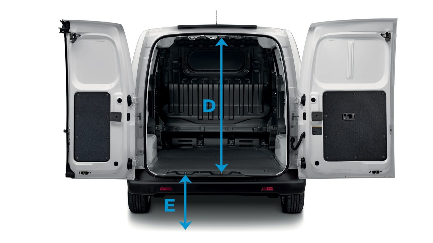 New Nissan e-NV200 VAN rear view with open rear doors and dimensions