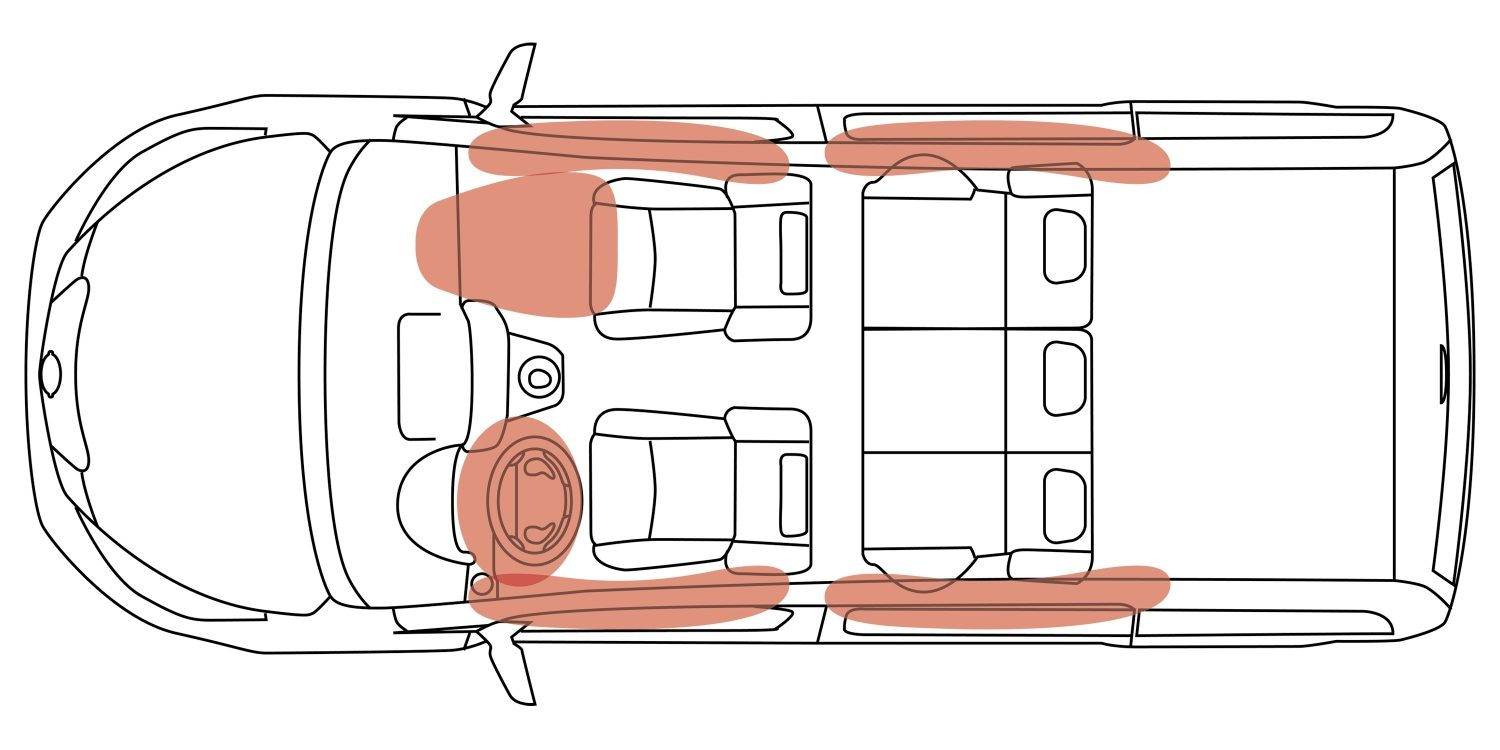NISSAN e-NV200 EVALIA – Illustration Airbag-Bereiche