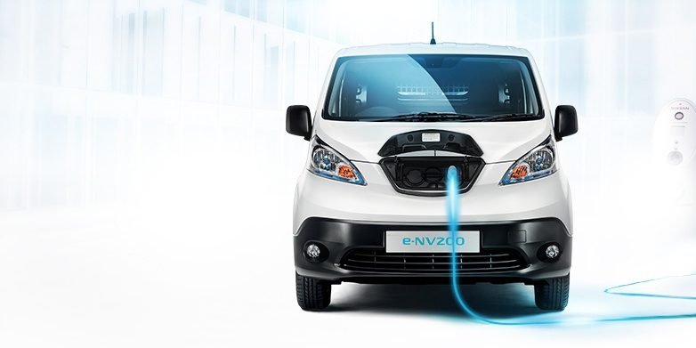 Nissan e-NV200 - Front head-on showing charging port with cable