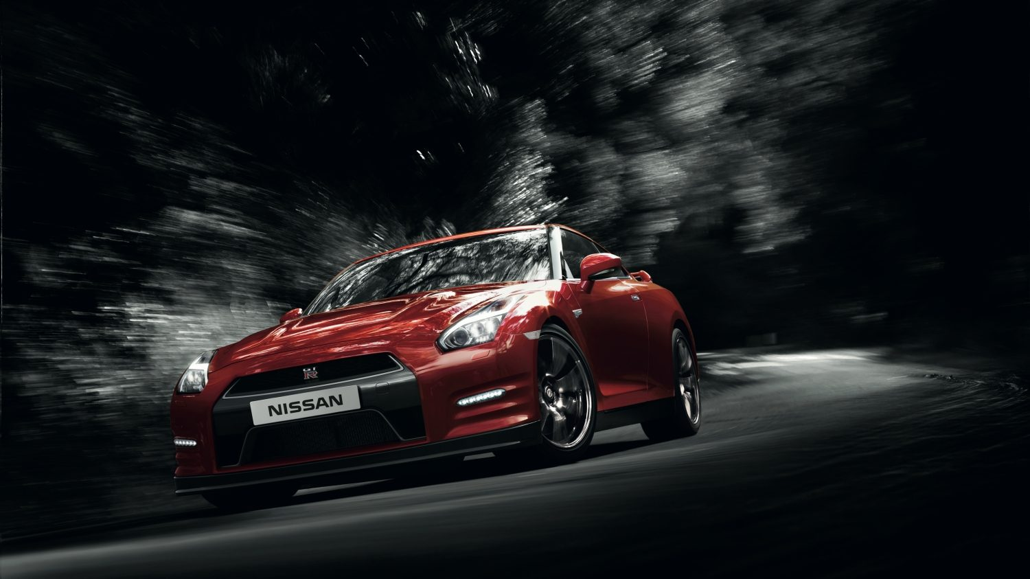 Nissan GT-R red - Car on dark road