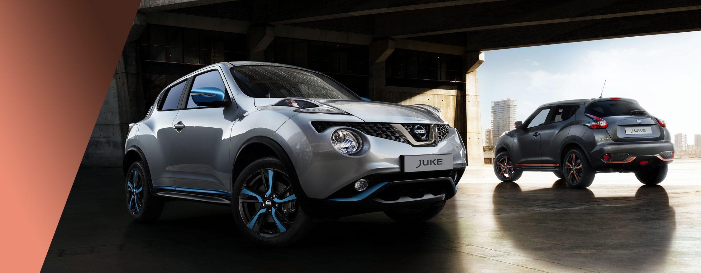 Новый Nissan JUKE, вид спереди с поворотом на 3/4 и вид сзади с поворотом на 3/4