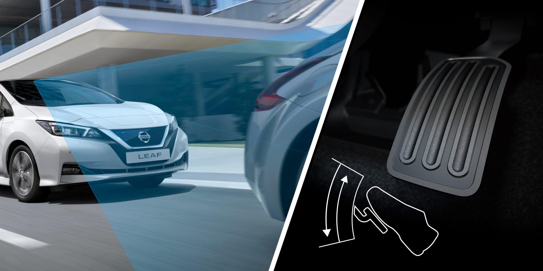 Nieuwe Nissan LEAF rijdend achter een auto en een close-up van het e-Pedal