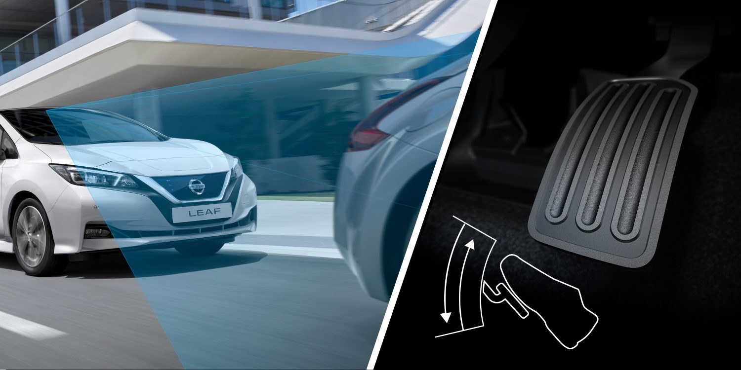 New Nissan LEAF driving behind a car and a close up of the e-Pedal