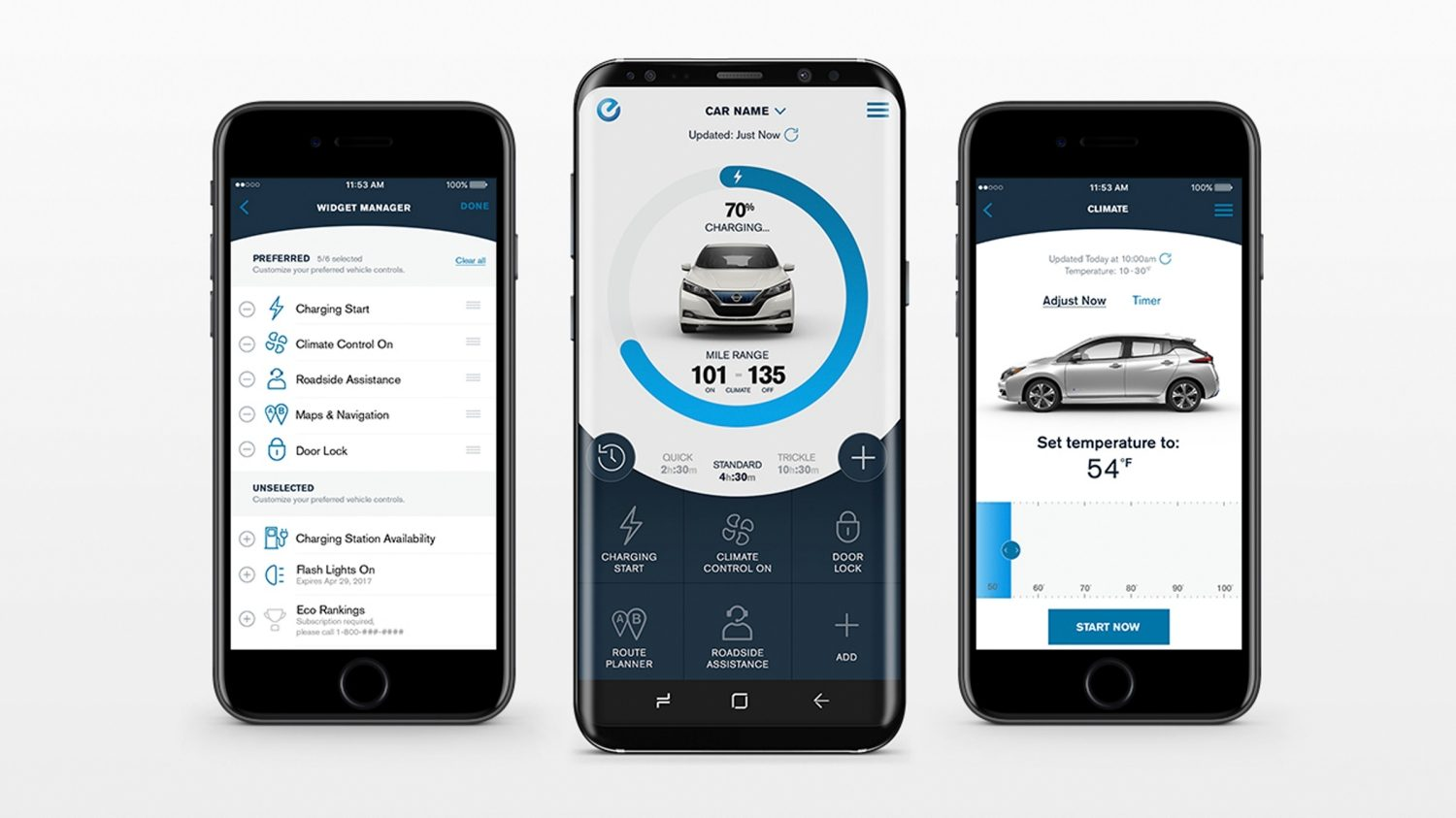 New Nissan LEAF Nissanconnect EV app showing different screens