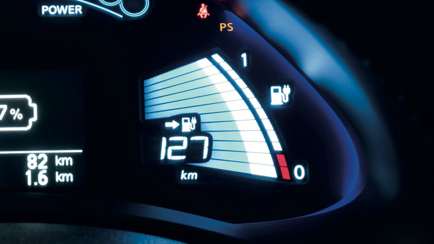 Nissan LEAF - Close-up van rijbereikmeter