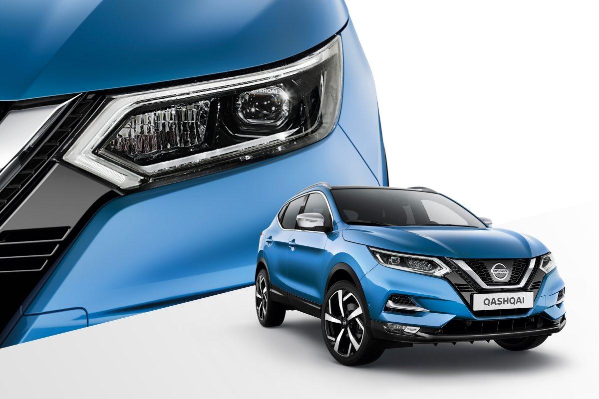 Nissan QASHQAI, колаж із зображеннями вигляду спереду з поворотом на 3/4 і вигляду деталей фар спереду