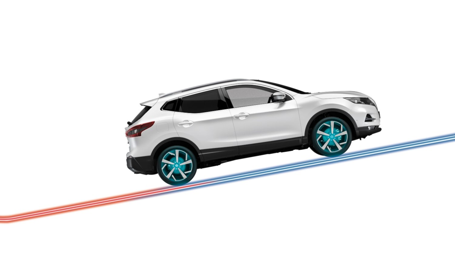 Nissan QASHQAI illustratie stilstaan-assistent