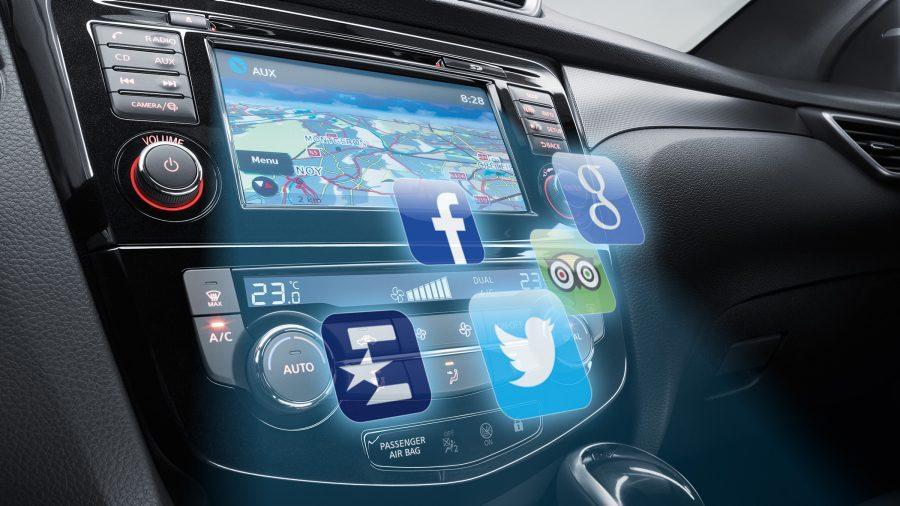 Nissan QASHQAI NissanConnect-console met app-iconen