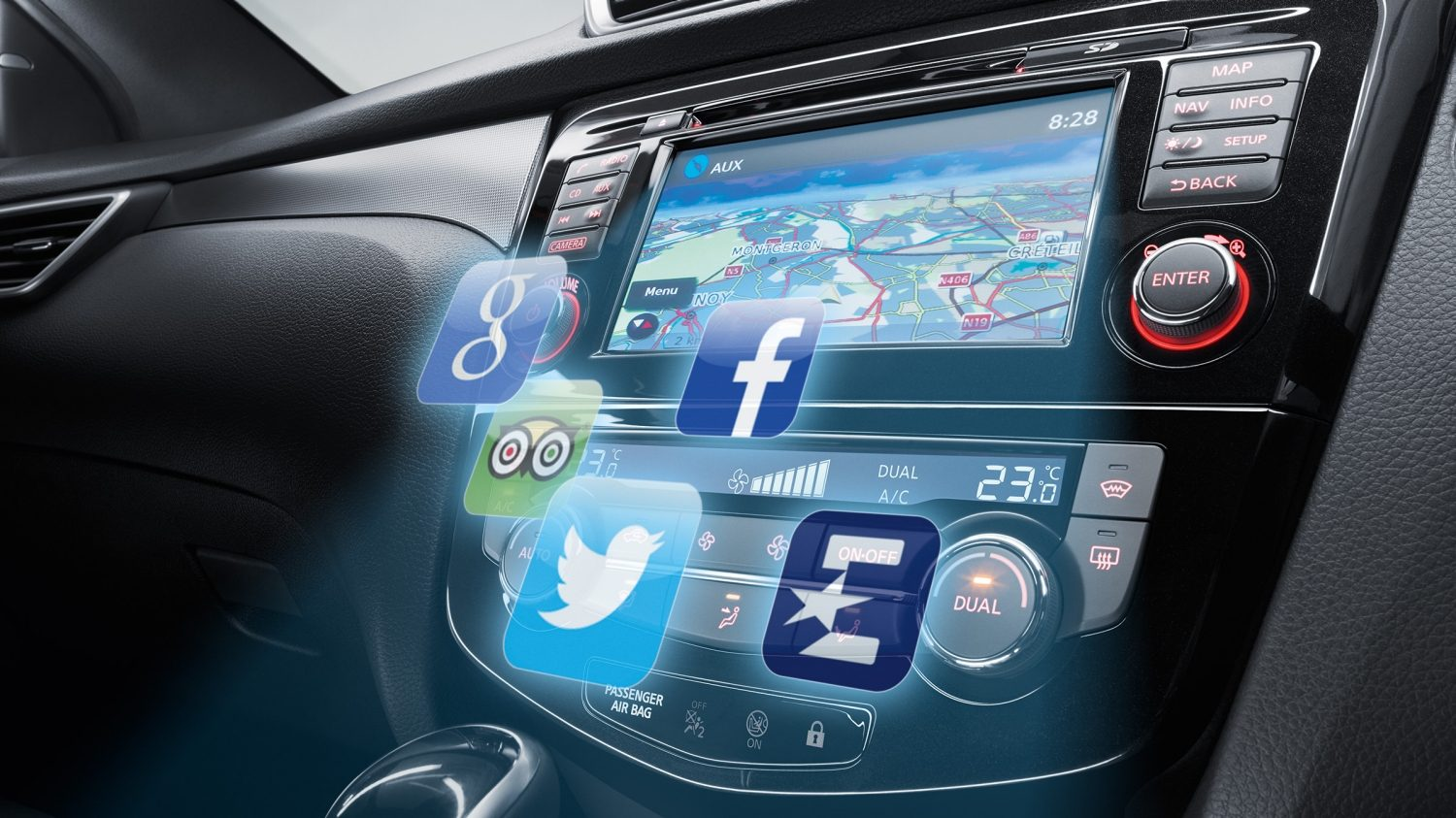Qashqai NissanConnect console with app icons