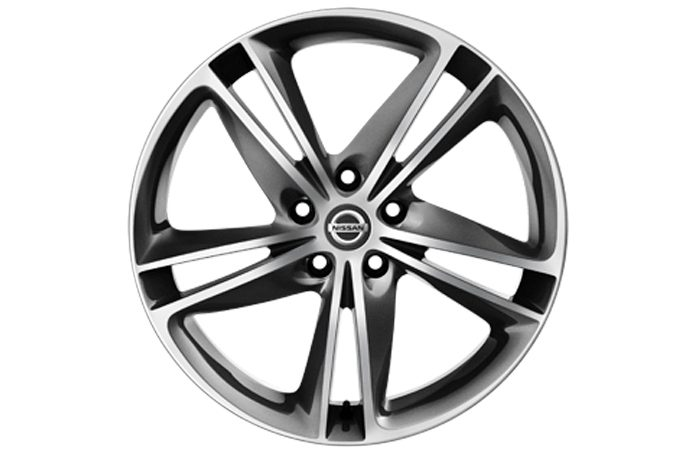 "Nissan Qashqaï - Alloy wheels - 19"" Lichtmetalen velg IBISCUS  + naafdoppen (Diamond Cut Dark Grey)"