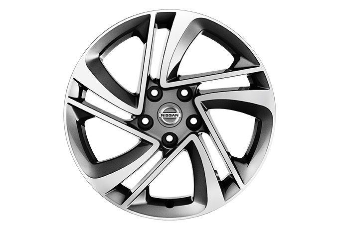 "Nissan Qashqai - Alloy wheels - 17"" Lichtmetalen velg SNOW FLAKE + naafdoppen (Diamond Cut Dark Grey)"