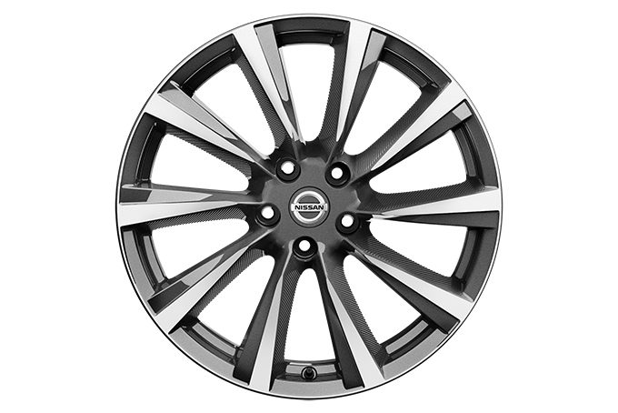 "Nissan Qashqai - Alloy wheels - 19"" Lichtmetalen velg WIND  + naafdoppen (Diamond Cut Dark Grey)"