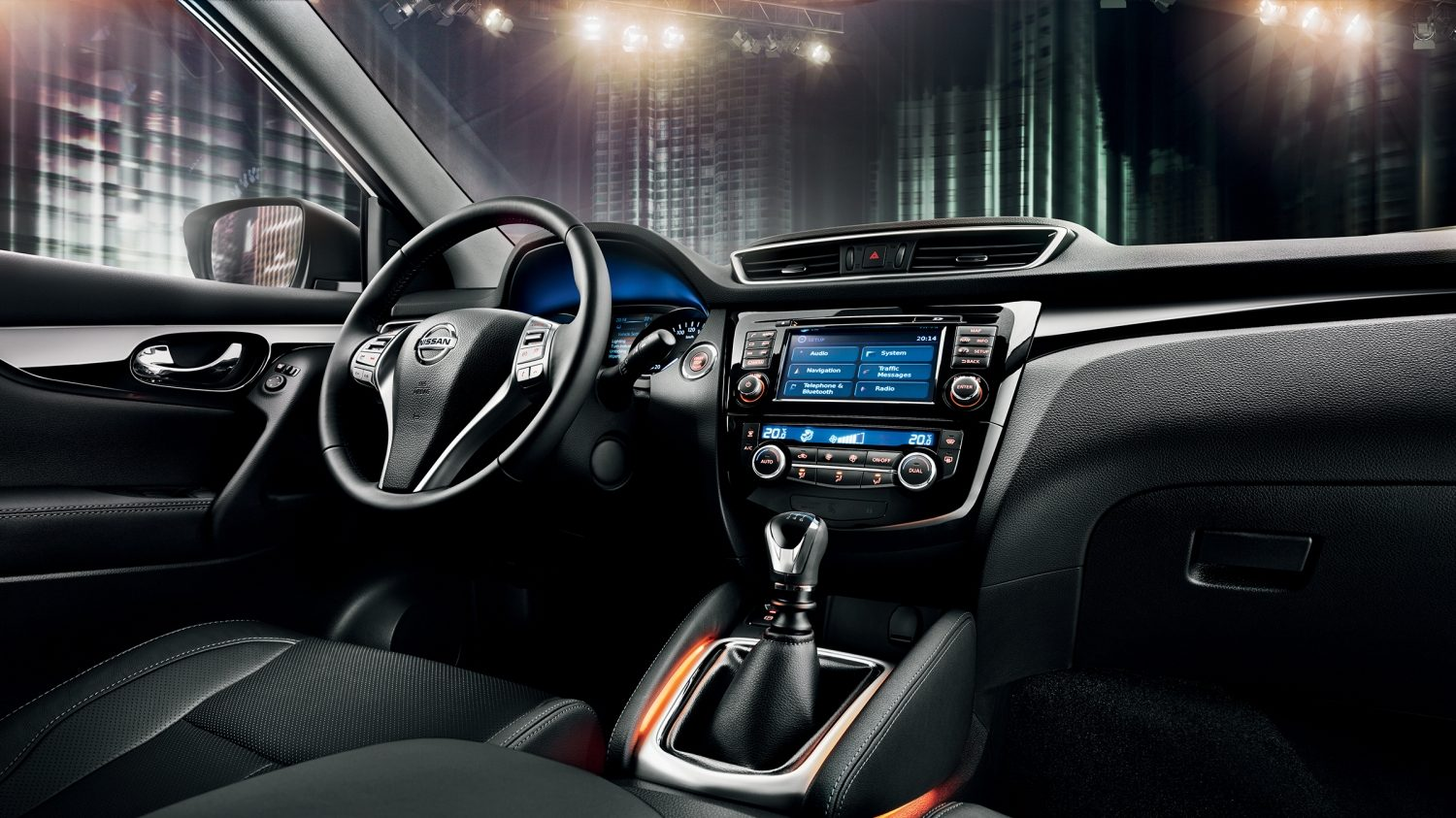 Qashqai Black Edition's interior with bespoke entry guards and limited edition badge.