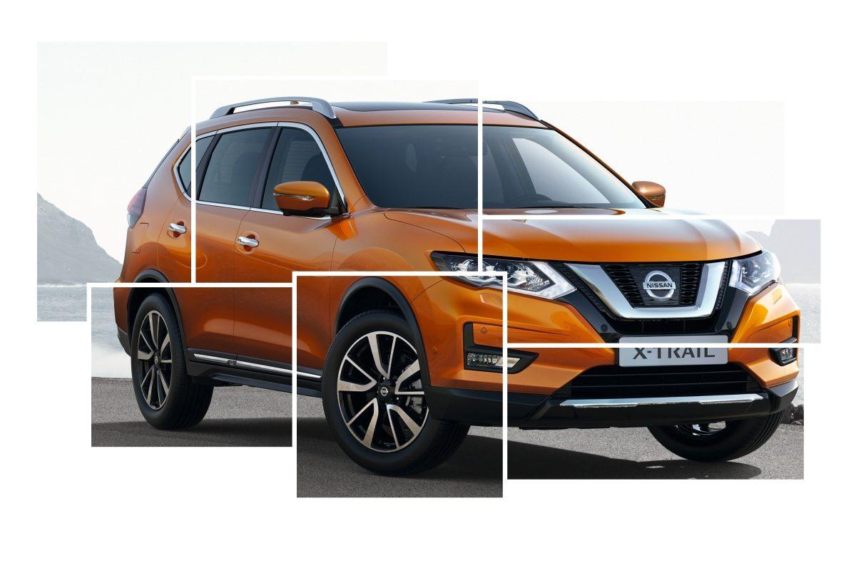 Общий коллаж с изображениями элементов внешнего дизайна Nissan X-TRAIL
