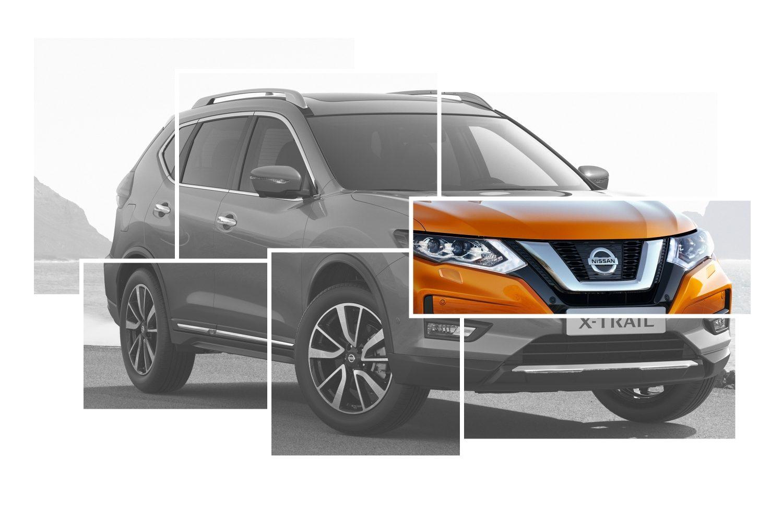Коллаж с изображениями элементов внешнего дизайна Nissan X-TRAIL с акцентом на V-образной решетке радиатора