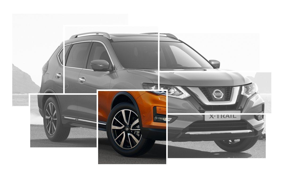 Коллаж с изображениями элементов внешнего дизайна Nissan X-TRAIL с акцентом на 19-дюймовых литых дисках из алюминиевого сплава