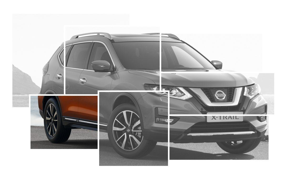 Коллаж с изображениями элементов внешнего дизайна Nissan X-TRAIL с акцентом на хромированных порогах