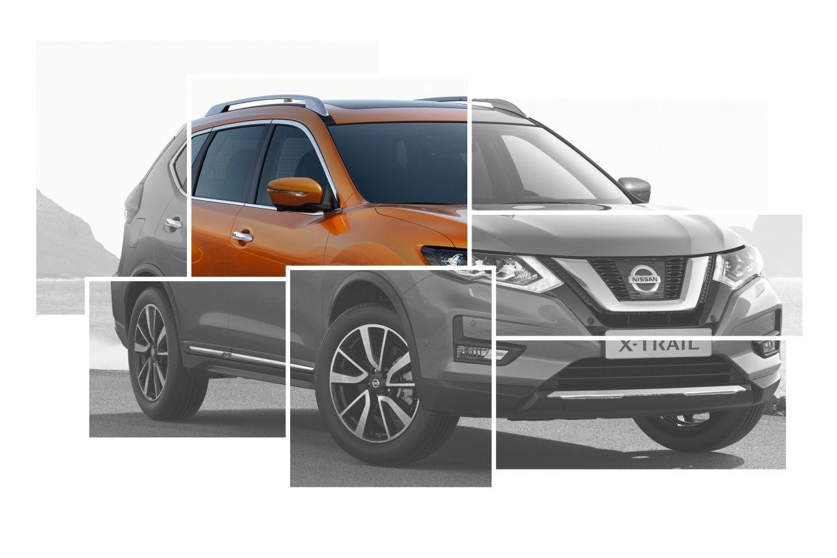 Коллаж с изображениями элементов внешнего дизайна Nissan X-TRAIL с акцентом на автоматически складывающихся зеркалах