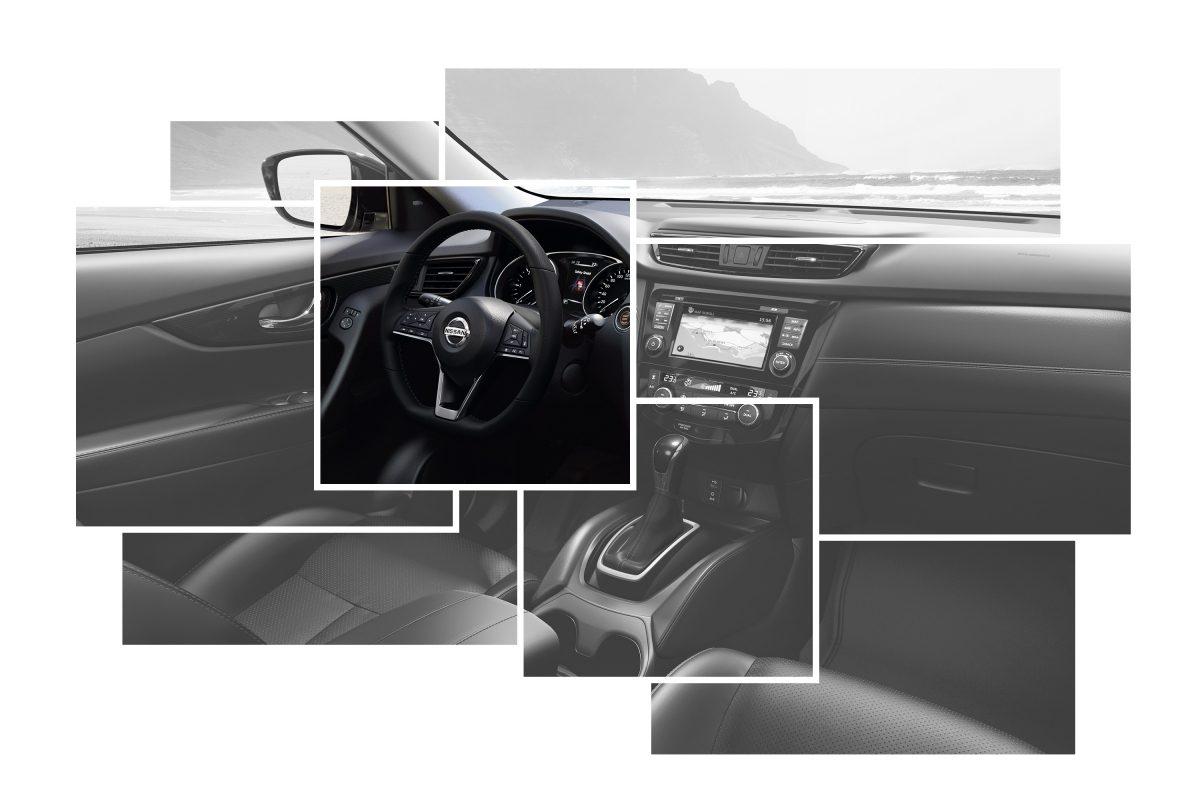 Коллаж с изображениями элементов интерьера Nissan X-TRAIL с акцентом на руле с подогревом