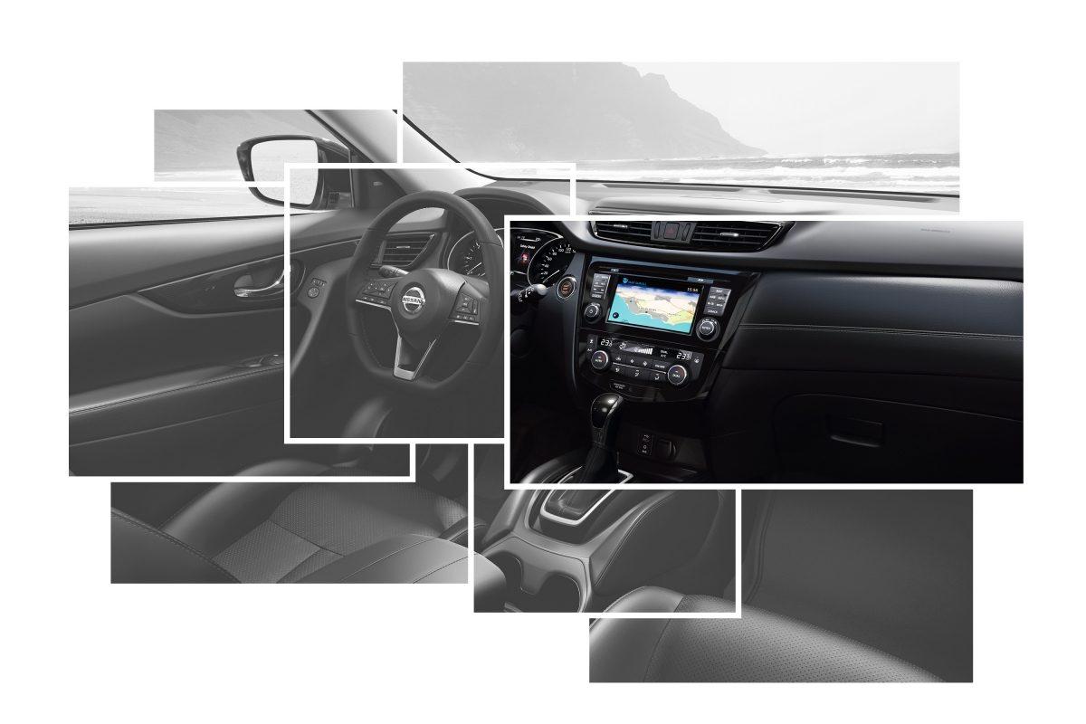 Коллаж с изображениями элементов интерьера Nissan X-TRAIL с акцентом на центральной консоли