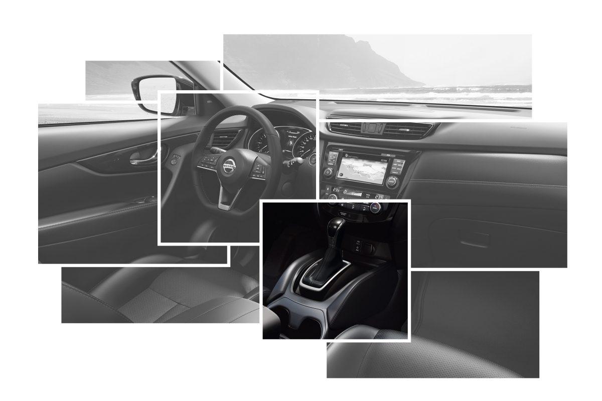 Коллаж с изображениями элементов интерьера Nissan X-TRAIL с акцентом на кожаном чехле рычага переключения передач