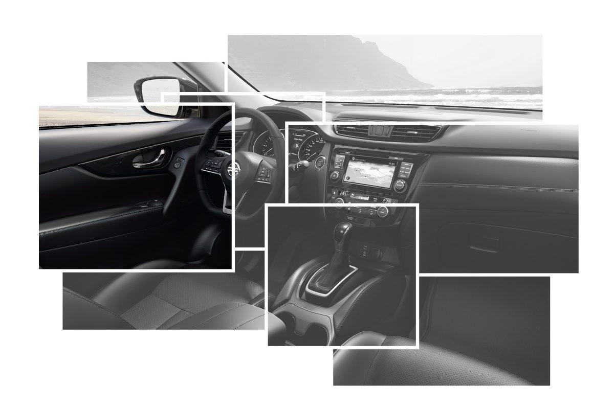 Коллаж с изображениями элементов интерьера Nissan X-TRAIL с акцентом на декоративных накладках на дверях