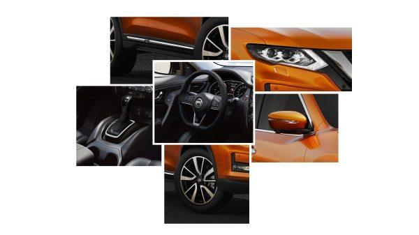Nissan X-TRAIL 2017 року, колаж із зображеннями елементів дизайну