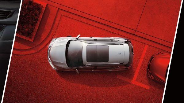 Круговий колаж із зображенням дисплея Advanced Driver Assist в Nissan X-TRAIL